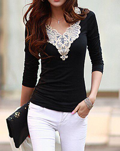 Image For Fashionable V-Neck Lacework Splicing Long Sleeve Women's T-Shirt