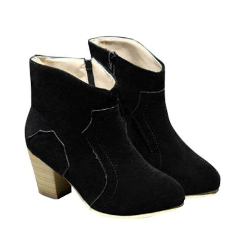 Concise Suede and Solid Color Design Boots For Women - BLACK 35