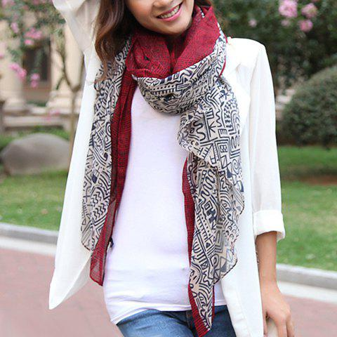 Vintage Mixed Pattern Design Women's Scarf - RED
