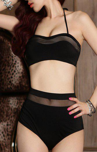 Image For Solid Color Lace-Up Design Mesh Splicing Women's Swimwear