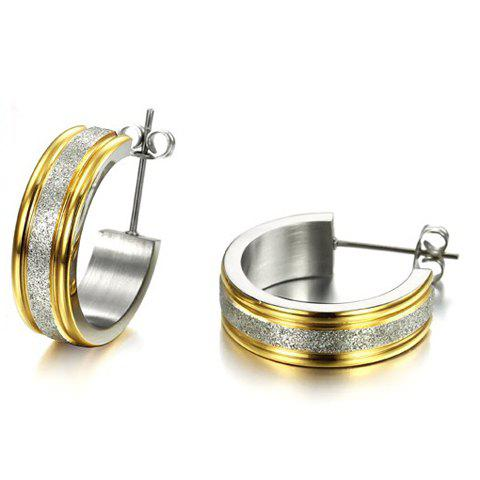 Pair of Fashion Trendy Circle Dull Polish Earrings For Women