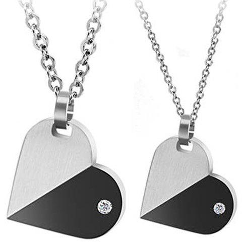 ONE PIECE Trendy Rhinestone Inlaid Heart Pendant Lover Couple Necklace