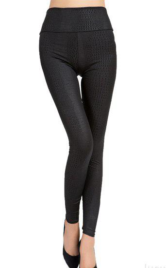 Stylish High-Waisted Stretchy Spliced Python Women's Leggings - BLACK ONE SIZE