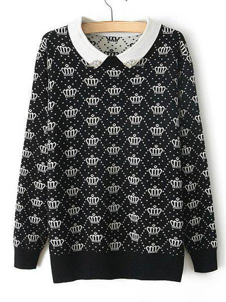 Crown Pattern Beaded Peter Pan Collar Long Sleeve Preppy Style Women's Sweater - WHITE/BLACK ONE SIZE