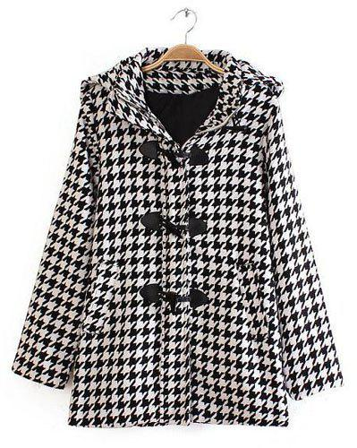 Stylish Houndstooth Pattern Hooded Long Sleeve Trench Coat For Women