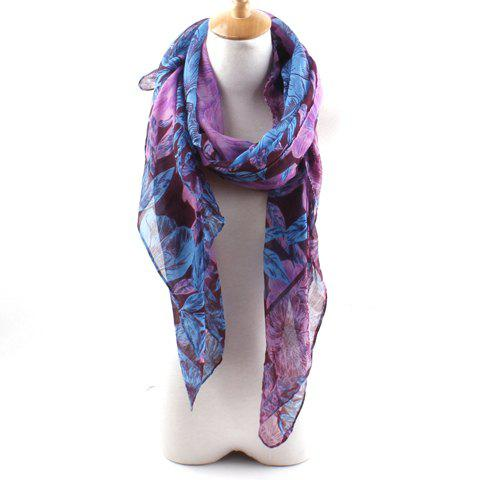 Image For Chic Leaf and Floral Print Voile Scarf For Women