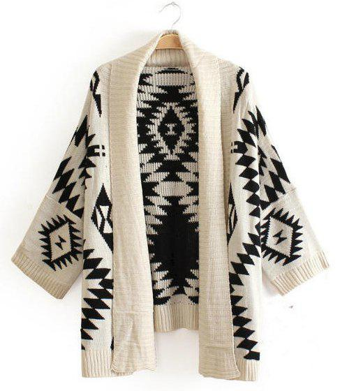 Geometric Pattern Collarless Long Sleeve Trendy Style Women's Cardigan - ONE SIZE WHITE
