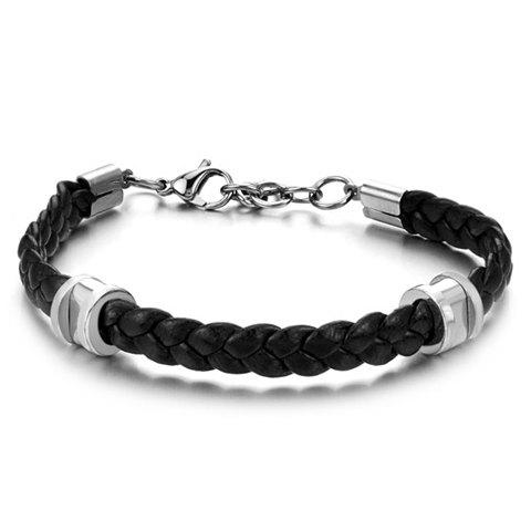Fashion Stylish Leather Braided Link Bracelet For Men - AS THE PICTURE