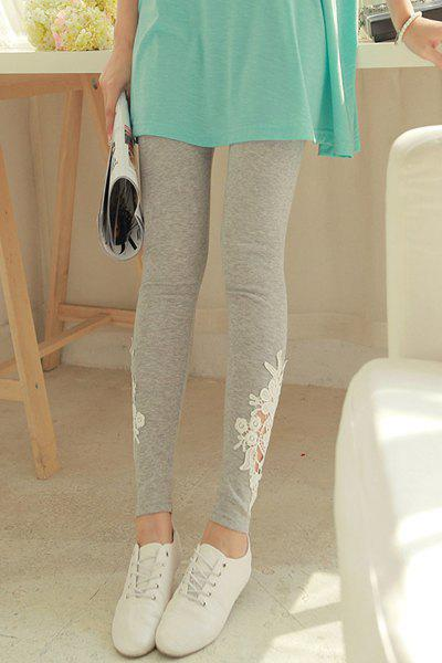 Casual Style Lacework Splicing All-Match Leggings For Women - GRAY ONE SIZE