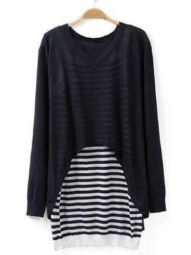 Sweet Long Sleeve V-Neck Sweater And Striped Tank Top Twinset For Women