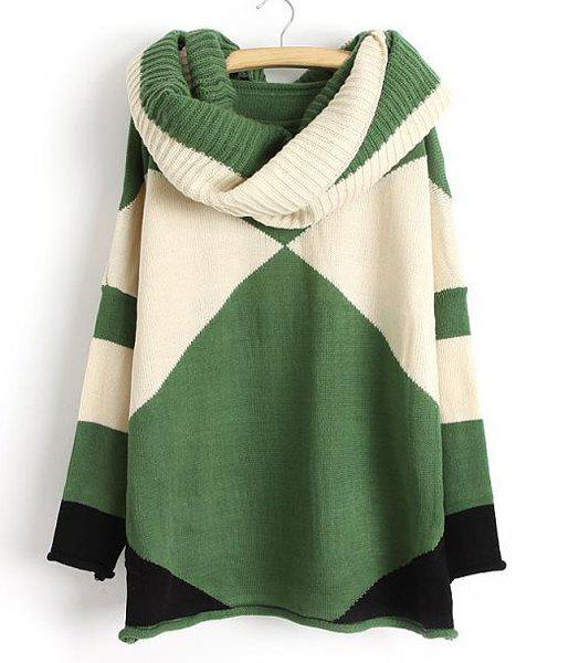 Color Block Scoop Collar Long Sleeve with Scarf Trendy Style Women's Sweater