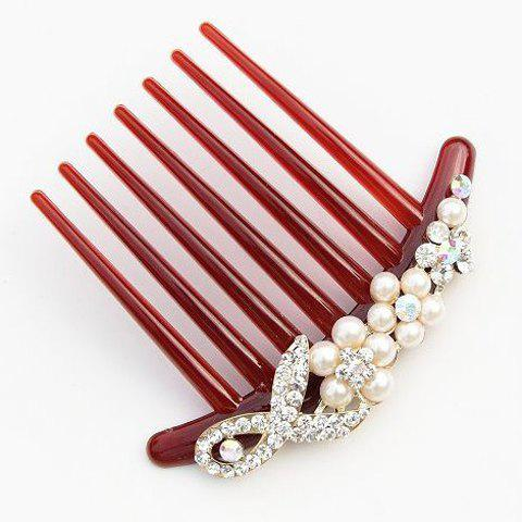 Sophisticated Rhinestoned and Faux Pearl Hair Comb For Women - DARK RED