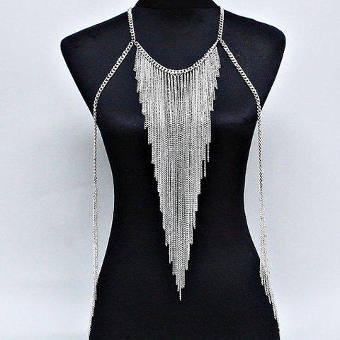 Link Tassel Triangle Layered Body Chain - SILVER