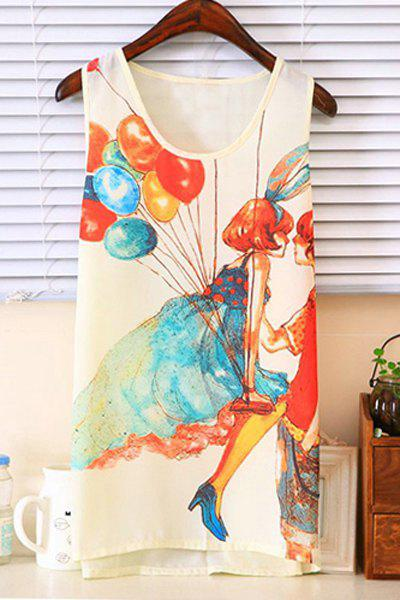 Fashionable Scoop Collar Balloon Girl Chiffon Tank Top For Women - COLORMIX XL