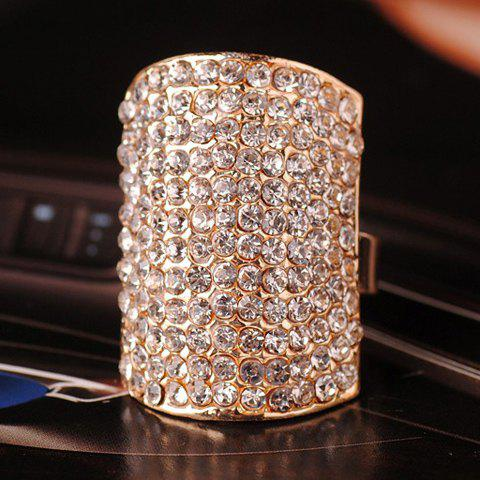 Cute Rhinestone Embellished Geometric Cuff Ring For Women - COLOR ASSORTED ONE-SIZE