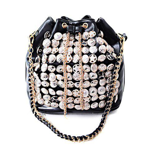 Fashion Button and Chain Design Shoulder Bag For Women - BLACK