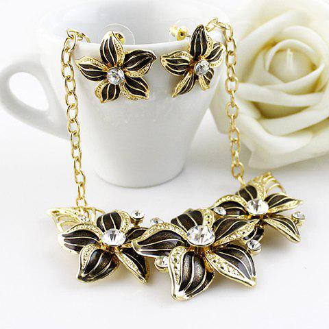 Gorgeous Gem Decorated Flower Necklace and A Pair of Earings For Women - BLACK