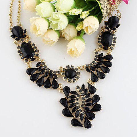 Fashionable Gem Decorated Women's Alloy Necklace - BLACK