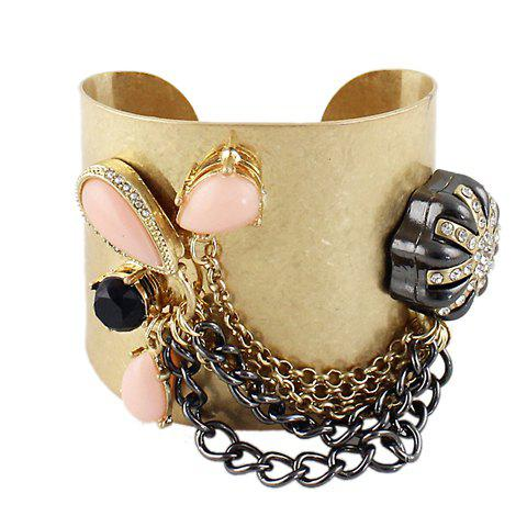 Retro Style Gem Decorated and Tassel Alloy Bracelet For Women - PINK