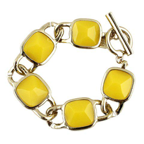 Faux Gem Decorated Geometric Alloy Bracelet - YELLOW