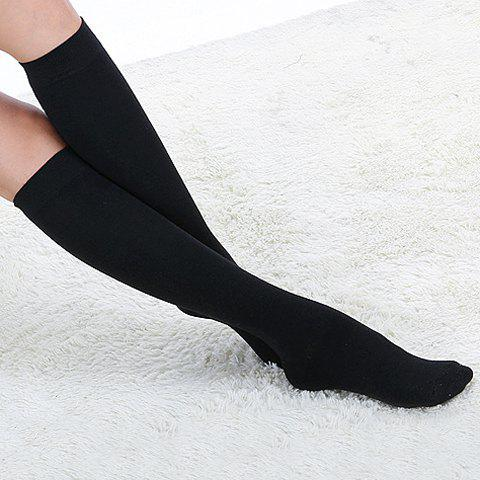 Pair of Hot Sale Solid Color Design Cotton Stockings For Women - COLOR ASSORTED