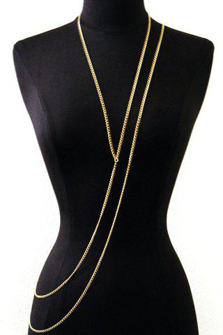 Stylish Special Design Layered Y-Shaped Women's Body Chain - GOLDEN