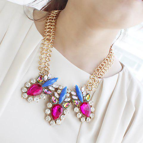 Ethnic Style Colorful Gem Decorated Geometry Shape Women's Alloy Necklace - AS THE PICTURE