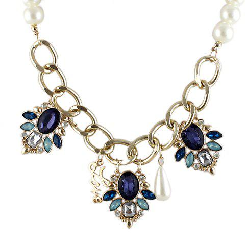 Stunning Faux Pearl and Gem Decorated Alloy Necklace For Women - BLUE