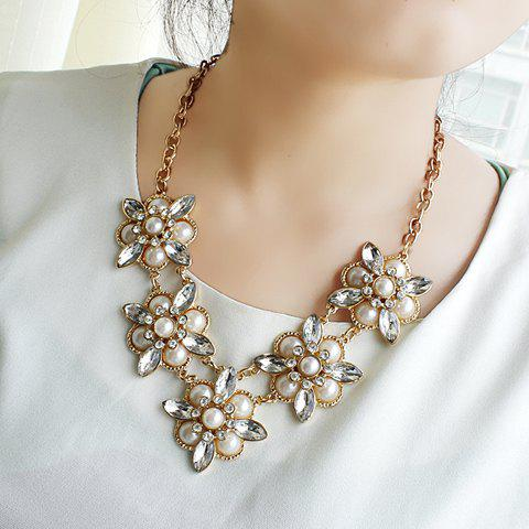 Elegant Gem Decorated Flower Shape Women's Alloy Necklace - AS THE PICTURE