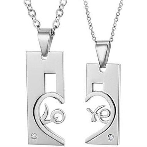 ONE PIECE Fashion Openwork Heart Letter Pendant Lover Couple Necklace - FEMALE