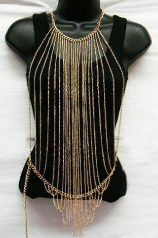 Characteristic Multi-Layered Tassels Body Chain For Women - GOLDEN