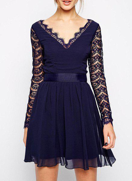 Hole Design Lace Splicing Nipped Waist Long Sleeve V-Neck Wide Hem Dress - AS THE PICTURE M