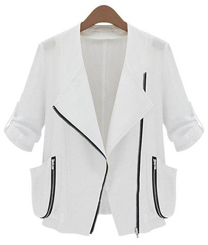 Trendy Style Turn-Down Collar 3/4 Sleeve Solid Color Women's Coat - WHITE S
