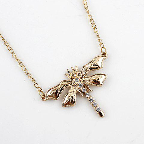 Elegant Rhinestone Embellished Dragonfly Shape Women's Headband - GOLDEN