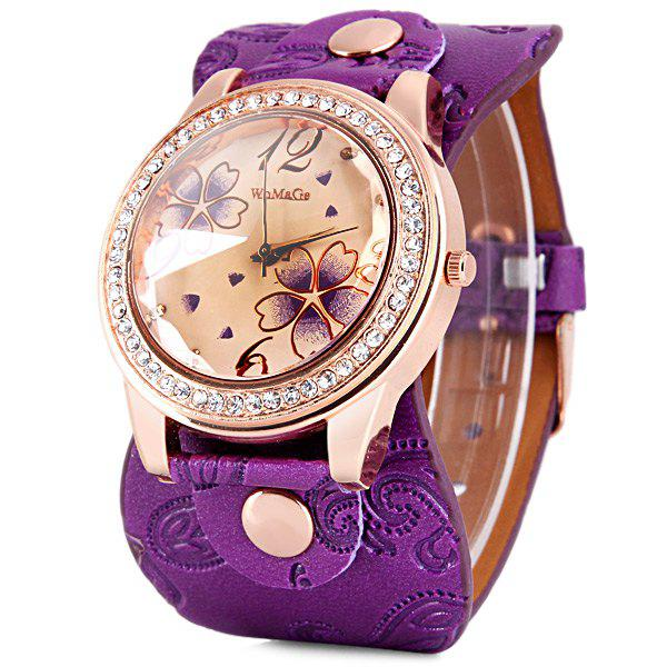 Image For Womage 9965-3 Quartz Watch with Diamond Flower Leather Watchband for Women