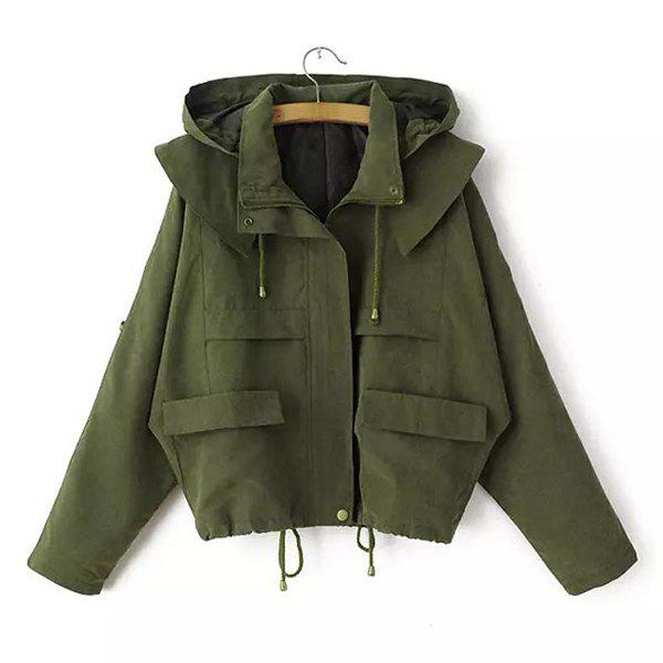 Simple Solid Color Hooded Drawstring And Pockets Design Loose-Fitting Coat For Women - ARMY GREEN M