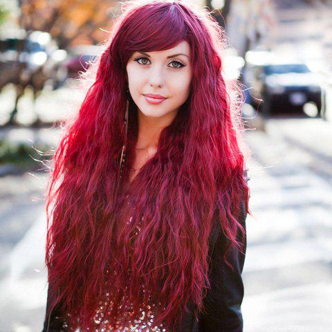 Personality Long Wavy Fashion Red Fluffy Inclined Bang Women's Synthetic Wig - RED