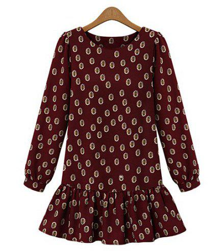 Cute Floral Print Scoop Neck Loose-Fitting Dress For Women - CLARET L