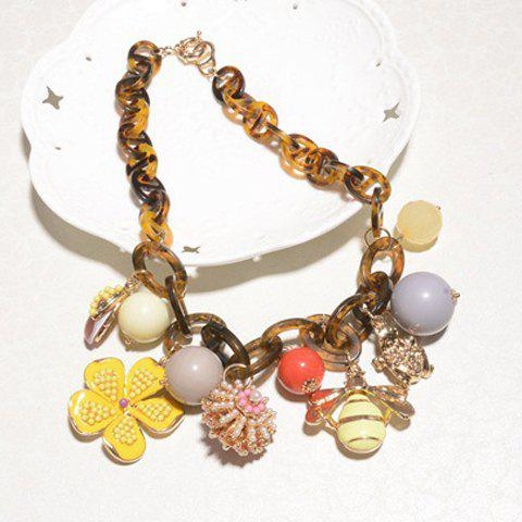 Sweet Cute Women's Beads Flower Bee Pendant Necklace - AS THE PICTURE