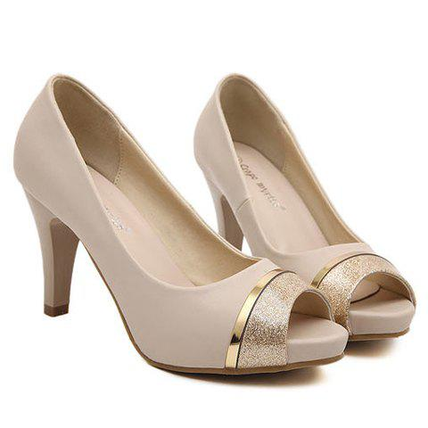 Trendy Chunky Heel and Splicing Design Peep Toed Shoes For Women - APRICOT 37