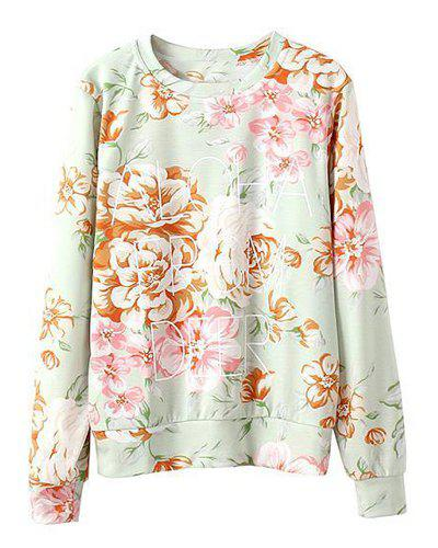 Full Floral and Letter Print Round Collar Long Sleeve Stylish Women's Sweatshirt - PINK S