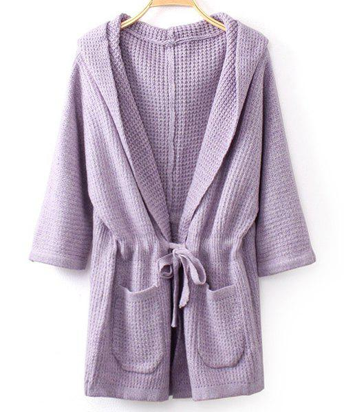 Stylish Solid Color Hooded Drawstring Design Half Sleeve Cardigan For Women - PURPLE ONE-SIZE