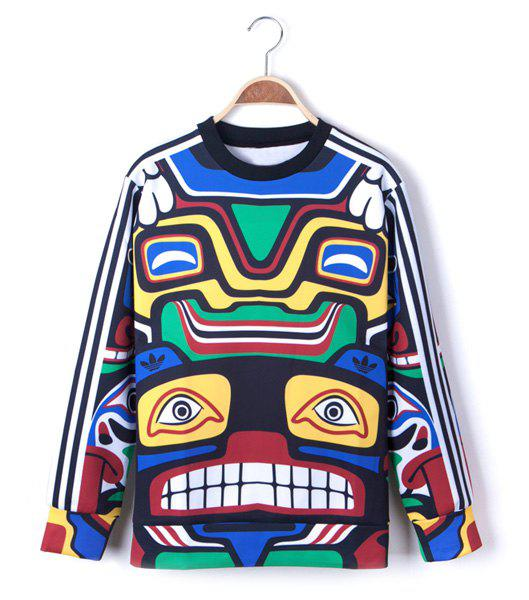 Euramerican Style Long Sleeves Round Neck Personality Geometry Print Men's Cotton Blend Sweatshirt - COLORMIX L