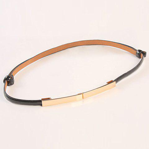 Stylish Candy Color Slender Belt For Women - BLACK