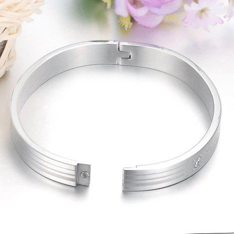 ONE PIECE Chic Silver Rhinestone Letter Round Lover Couple Bracelet