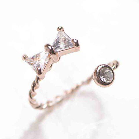 Cute Rhinestone Embellished Cuff Ring For Women - GOLDEN ONE-SIZE