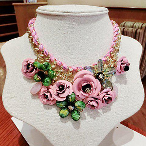 Stylish Gorgeous Women's Rhinestone Flower Necklace - COLOR ASSORTED