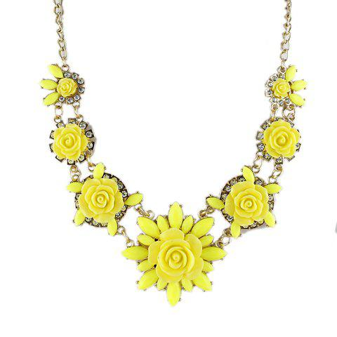 Bohemian Style Gemstone Embellished Flower Shape Women's Necklace