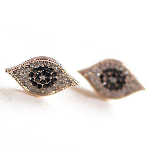Pair of Chic Women's Rhinestone Eye Earrings - AS THE PICTURE