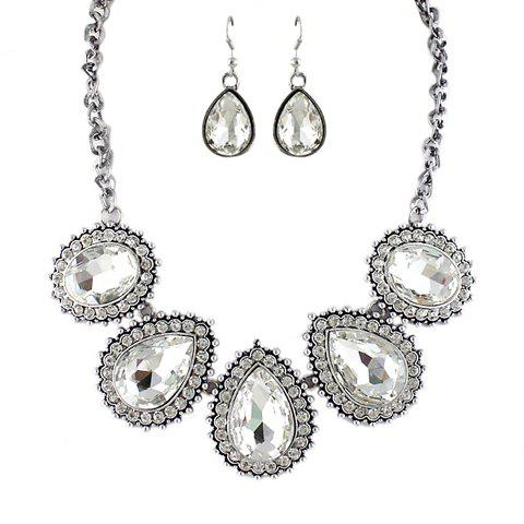 Elegant Gemstone Embellished Water Drop Women's Necklace and A Pair of Earrings - WHITE